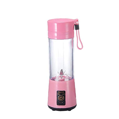 Mini Portable 400ml Fruit Mixing Machine with USB Charger Cable 4 Blades for Superb Mixing Detachable Cup (Pink) Practical Tool Utilities