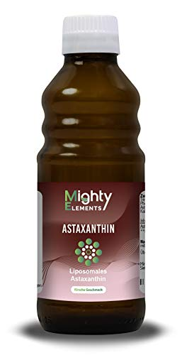 Liposomales Astaxanthin (12 mg) I über 60 Portionen I überzeugender Geschmack I hochdosiert I vegan I hohe Bioverfügbarkeit I flüssig I Mighty Elements I 250 ml Glasflasche