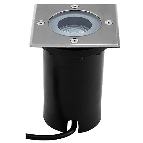 Faretto LED da incasso a pavimento, IP67, quadrato, GU10, da incasso, per esterni, terrazzo, da incasso