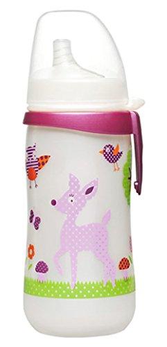 Nip 38123-51 Trinkflasche, First Cup Girl plus Soft Trinklernschnabel, Silikon mit Clip, Weithalsöffnung, ab 12 Monaten, PP 330 ml