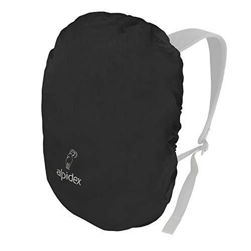 ALPIDEX Rucksack Regenschutz wasserdichte Regenhülle Kordelstopper Packsack Verschiedene Größen, Farbe:Black, Volumen:15-30 Liter