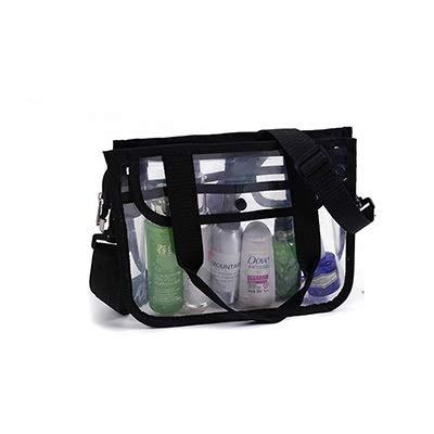 JIEIIFAFH Thickening PVC Transparent Beach Bag Women Clear Shoulder Bag Portable Fashion Womens Bags Travel Organizer Cosmetics Wash Bags (Color : Black)