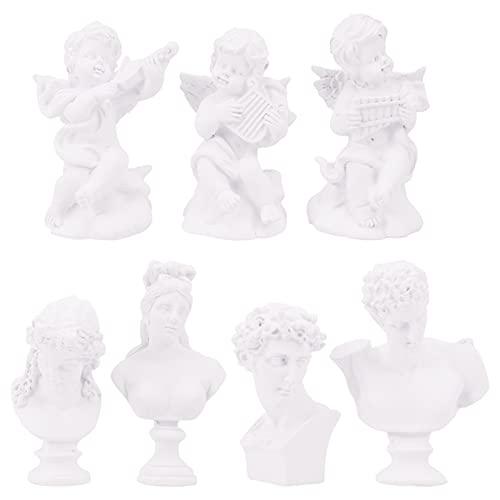Happyyami 7 Piezas de Escultura de Griego Busto Estatua de Griego Figura de Busto Figura de La Estatua de La Diosa de La Mitología Romana Escultura Decoración del Hogar