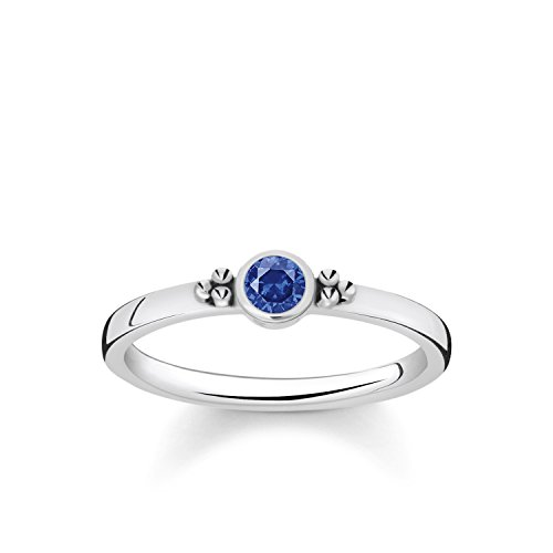 Thomas Sabo Women Ring Royalty Dark Blue Stone 925 Sterling Silver, Blackened TR2154-638-32