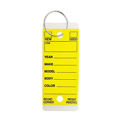 Car Key Tags, Self Laminating Plastic Automotive Key Tags with Ring, Bulk Car Dealer Supplies, Round Corner, Yellow, Box of 250 Photo #2