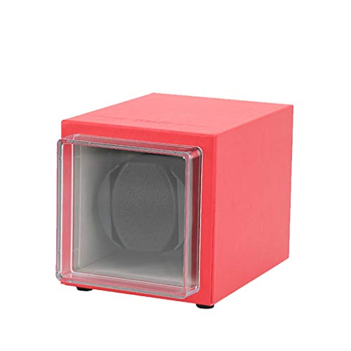 YF Caja de Reloj Enrollador De Reloj Automático Individual con Motor Silencioso, Cajas Mecánicas De Rotación De Caja Relojes para 1 Reloj, 5 Modos Configuración, Rojo como un Regalo