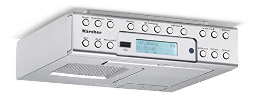 Karcher RA 2030D Unterbauradio mit DAB+ / UKW-Radio (je 20 Senderspeicher) und MP3-Wiedergabe - Wecker (Dual-Alarm) / Countdown-Timer - Smartphone-Ablage & USB-Charger - Fernbedienung