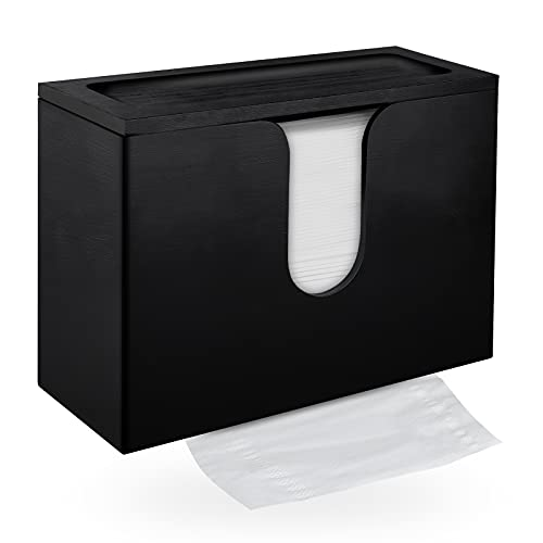 ADXCO Paper Napkin Dispenser Wall Mount Bamboo Black Paper Hand Towel Dispenser with Lid for Bathroom Kitchen Office and Toilet
