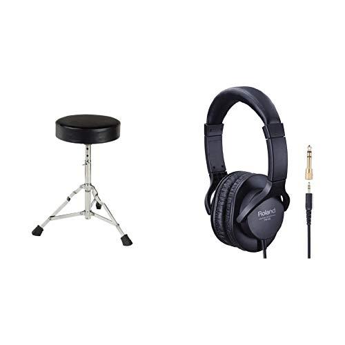 Roland RH-5 Kopfhörer, Schwarz, 33,8 x 28,5 x 10 cm & XDrum Schlagzeughocker Semi (Höhenverstellbar 50-64cm, DREI Standbeine mit Gummifüßen, zusammenklappbar)