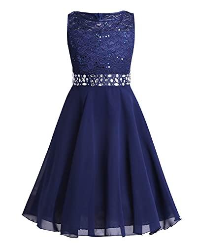 TiaoBug Festlich Mädchen Kleid für Kinder Prinzessin Spitzen Kleider Hochzeit Blumenmädchenkleid 92 104 116 128 140 152 164 Marineblau 128