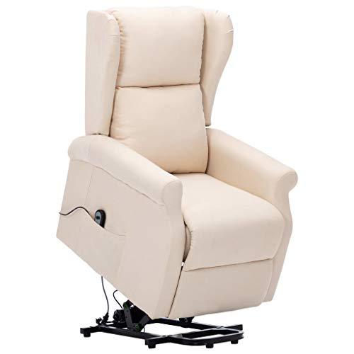 vidaXL Aufstehsessel Elektrisch Sessel mit Aufstehhilfe Liegesessel Fernsehsessel Relaxsessel TV Ruhesessel Polstersessel Creme Stoff