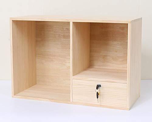 Bureau Petite étagère, étagère de Table Petite bibliothèque avec Serrure Armoire de Rangement Petit Coffret Rangement tiroir Bois Massif