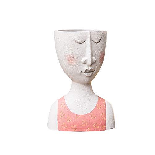 GZSC 1pcs Cabeza Humana florero del pote de Flor de la muñeca en Forma de Escultura de Resina Retrato Tiesto Vase Decoración suculentas Forma de la Cabeza del florero (Color : B)