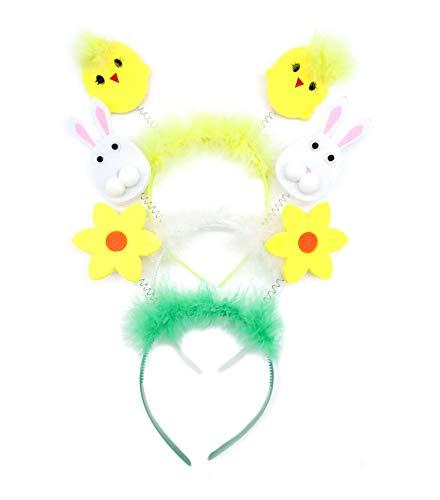 irresistible1 Oster-Haarreifen, Farbvariation gelbes Küken, weißes Kaninchen und gelbe Sonnenblume, 3 Stück
