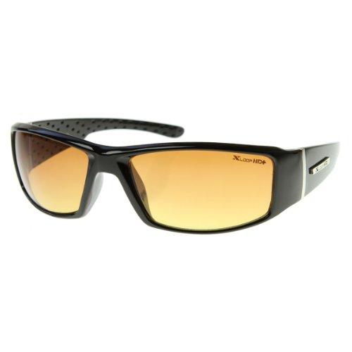 x loop night vision driving glasses HD Active Frame Sports Wrap Sunglasses (Shiny Black)