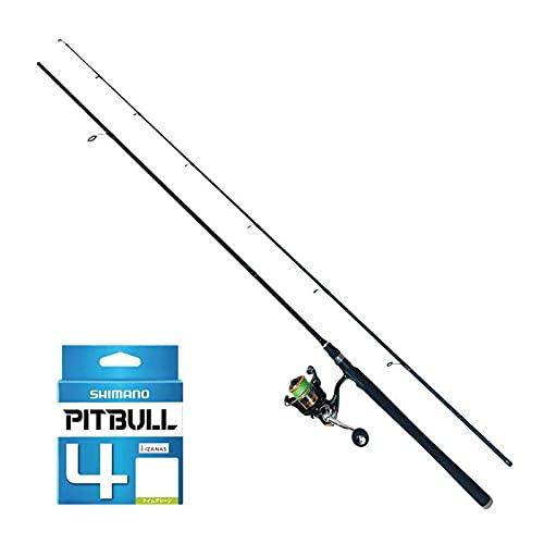 つり具TEN シーバス釣り 竿・リールセット PEライン糸巻き済み(シーバスロッド80ML スピニングリール エギング PITBULL)