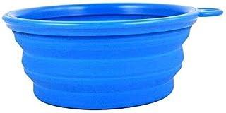 Waymeduo ポータブルペットフードウォーターボウル 給餌用トラフ 折りたたみ式トラベルシリコンドッグキャットボウル ドッグボウル 1ピース Blue