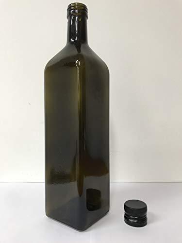 acquaverde 6 Pezzi Bottiglia Vetro Scuro UVAG marasca Olio liquore Quadra 1000 ml con Tappo