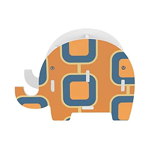 Soporte de lápiz de elefante naranja cuadrado patrón soporte de almacenamiento Pot teléfono titular contenedor caja de papelería