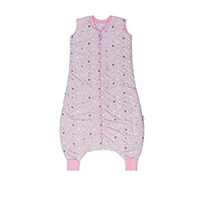Slumbersac Saco de dormir de verano con pies 1,0 Tog, diseño de elefantes rosas, 24 – 36 meses