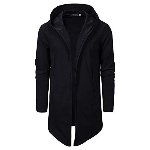 SevenDwarf Men Hoodie Sweatshirt Assassins Creed Asymmetrical Long Fleece Coat Cardigan Black