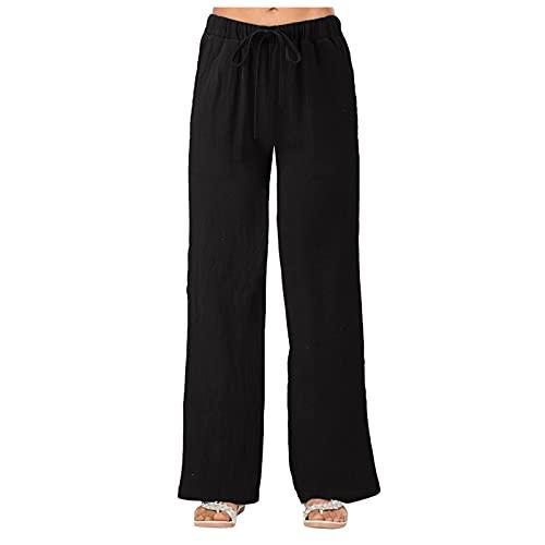 Pantalones Casuales de Algodón y Lino de Verano para Mujer con Cordón Pantalón de Pierna Recta Delgados de Color Sólido Pantalones Deportivos de Otoño Yoga