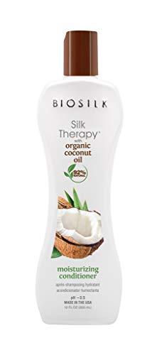 BioSilk Silk Therapy Coconut Oil Moisturizing Conditioner - 92% Natural, Sulfate, Paraben and Gluten Free - Multiple Sizes