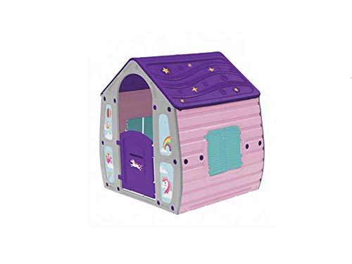 Vetrineinrete Casetta Unicorno per Bambine da Giardino casa Giocattolo per Bimbe Idea Regalo 109x90x102 cm