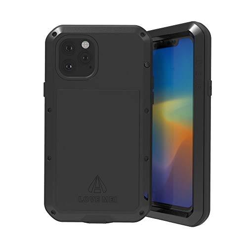 LOVE MEI per iPhone 11 Pro Max Custodia,Outdoor Heavy Duty Antiurto Impermeabile Polvere-prova Sporcizia-prova in Alluminio Metallo Cover con Vetro Temperato per iPhone 11 Pro Max (6.5 Pollici) (Nero)