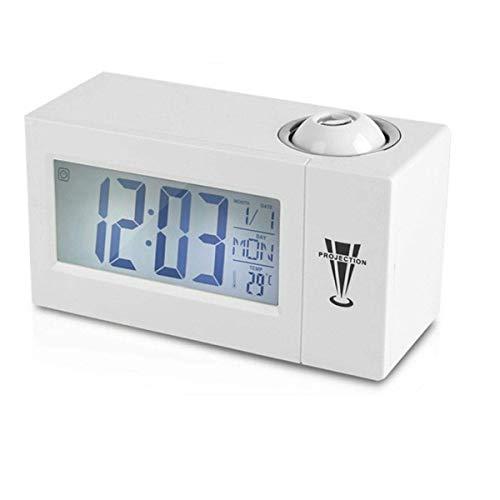 ZHHZ Wecker, LCD Digital LED Projektor Projektion Snooze Wecker Radio Timer Hintergrundbeleuchtung für Schlafzimmer, Nachttisch, Schreibtisch, Büro, Schwarz