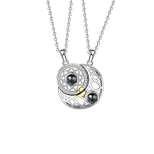 Easenhub 925 collar de plata esterlina pareja sol y luna costura colgante collar regalo para niñas niños imán collar cadena para mujeres y hombres 2 piezas