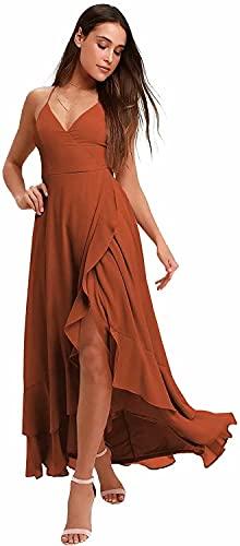 Yuxin Chiffon Spaghetti Strap Bridesmaid Dresses High Low Slit V Neck Long Ruffles Formal Prom Gown for Women Burnt Orange US4