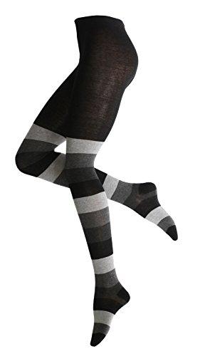 Vincent Creation Warme und Modische Damen Baumwoll Strumpfhose mit Blockstreifen, Strickstrumpfhose gemustert, 40/42 (M), Schwarz-grau-anthrazit