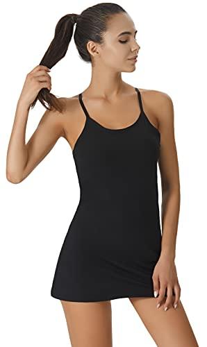 Vestido de tenis sin mangas para mujer, con sujetador integrado y pantalones cortos, con bolsillos para entrenamiento de golf, Negro, X-Small