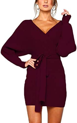 Mansy Women s Sexy Cocktail Batwing Long Sleeve Backless Mock Wrap Knit Sweater Mini Dress Burgundy product image