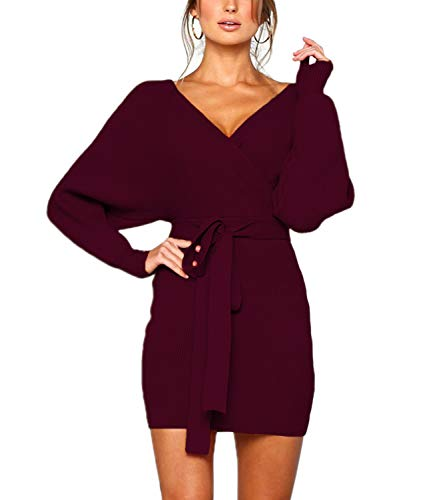 Mansy Women's Sexy Cocktail Batwing Long Sleeve Backless Mock Wrap Knit Sweater Mini Dress Burgundy