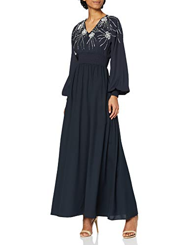 Frock and Frill Damen Long Sleeve Embellished Maxi Dress Cocktailkleid, Midnight Blue, 38