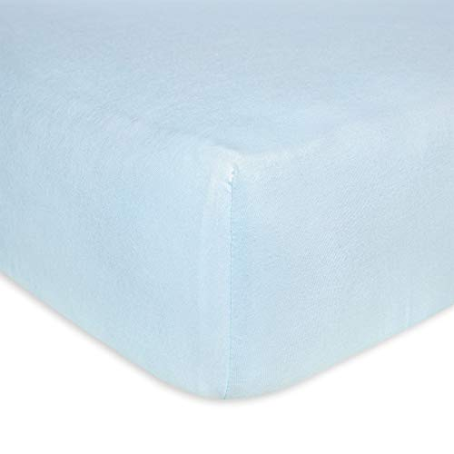 Burt's Bees Baby - Fitted Crib Sheet, Solid Color, 100% Organic Cotton Crib Sheet for Standard Crib and Toddler Mattresses (Sky Blue)