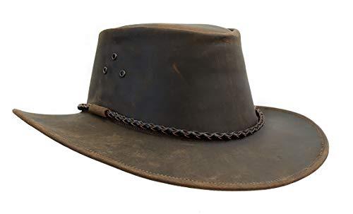 Kakadu Lederhut Echuca in braun mit geschwungener Krempe und Rundkordel-Hutband | Herren Damen Größe L | 2. Wahl