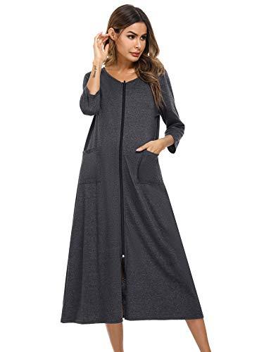 Irevial Damen-Bademantel mit Reißverschluss vorne Morgenmantel kurzen Ärmeln Vollständiger Hausmantel mit Taschen