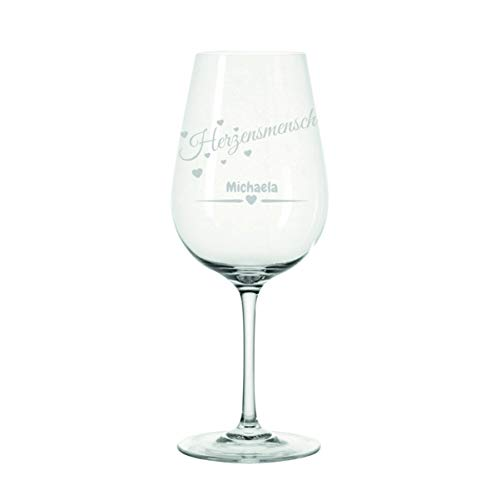 Crealuxe Leonardo wijnglas hartjesmens met gravure naar wens - cadeau, verjaardag, Kerstmis,
