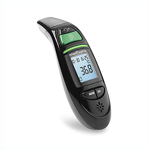 medisana TM 750 negro termómetro clínico digital 6 en 1 termómetro de oído para bebés, niños y adultos, termómetro de frente con alarma visual de fiebre y función de memoria