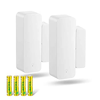 Seculex WiFi Door Sensor Alarm 2 Pack Window Door Open Phone Alert Compatible with Amazon Alexa Google Assistant Wireless Remote Window Alarm for Home Security Kids Safety Battery Included