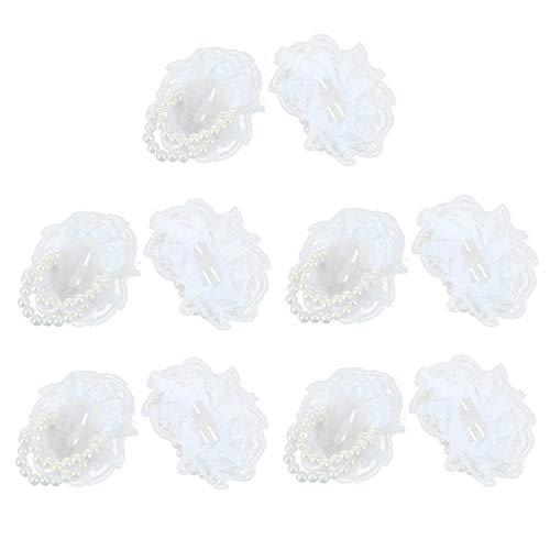 WINOMO 10 Piezas Boda Nupcial Ramillete Dama de Honor Perla Muñeca Flor Mano Flor Estiramiento Pulsera para Boda Fiesta de Graduación Decoración Blanca