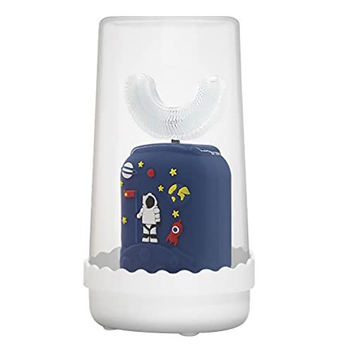 HEALLILY Cepillo de Dientes en Forma de U para Astronauta Juego de Cepillos de Dientes Eléctricos para Niños Cepillo de Dientes Automático Resistente Agua para Niños Pequeños ( Azul