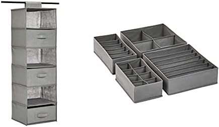 Amazon Basics 6-Tier Hanging Shelf Closet Storage Organizer with Removable Drawers