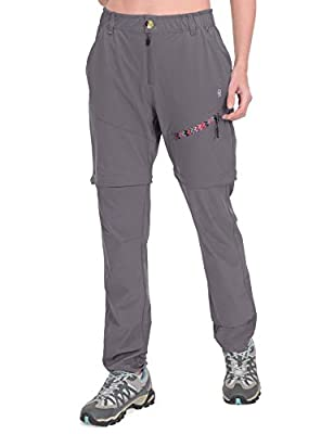 Little Donkey Andy Women's Convertible Hiking Pants Lightweight Zip-Off Pants Quick Dry UPF 50 Steel Gray Size M