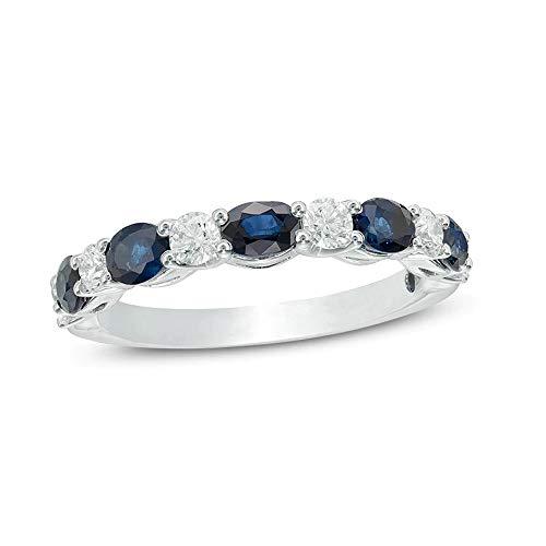 SILVERHUB Anillo de boda de corte ovalado de 4 x 3 mm con zafiro azul y diamante de 1/4 quilates T.W. chapado en oro blanco de 14 quilates, Metal, circonita cúbica,