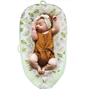Lion Paw Baby Lounger Baby Nests Soft Infant Lounger Bassinet Portable Soft & Breathable Newborn Crib, Co-Sleeping Baby Bassinet (0-24 Months)-Green Leaf