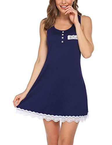 Avidlove Nachthemd Damen Kurz Nachtkleid Sexy Nachtwäsche Spitze Negligee Rundhals Nachthemden Aus Baumwolle Navyblau M
